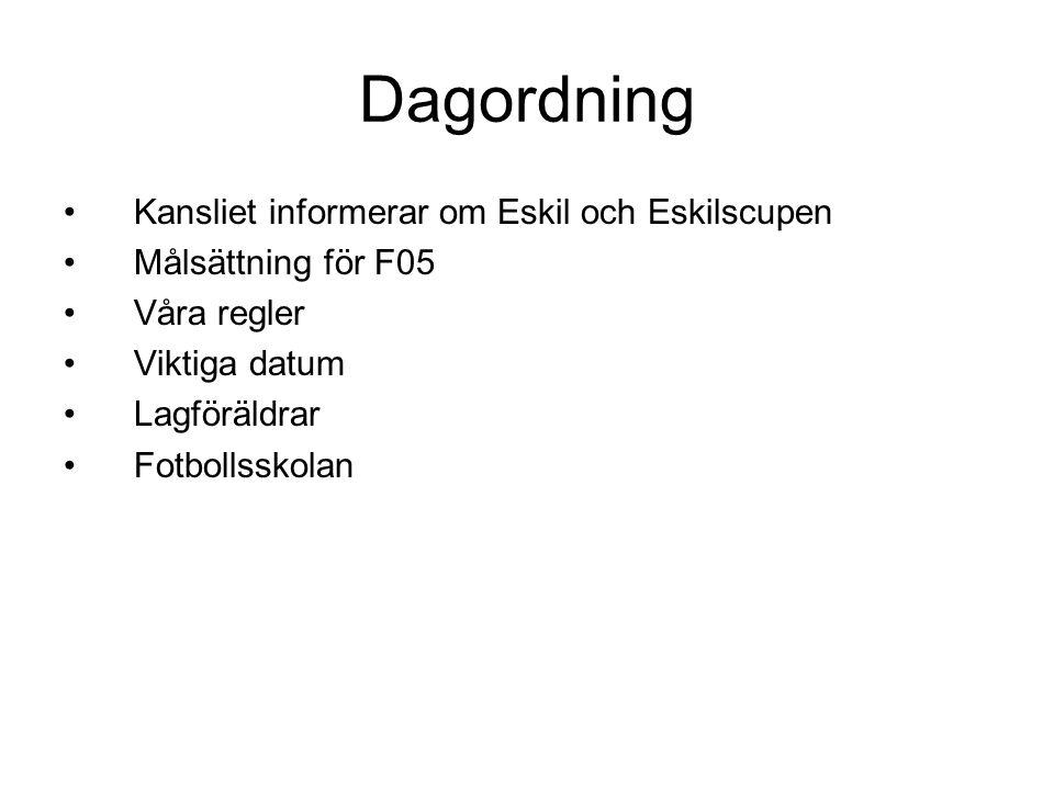 Dagordning •Kansliet informerar om Eskil och Eskilscupen •Målsättning för F05 •Våra regler •Viktiga datum •Lagföräldrar •Fotbollsskolan