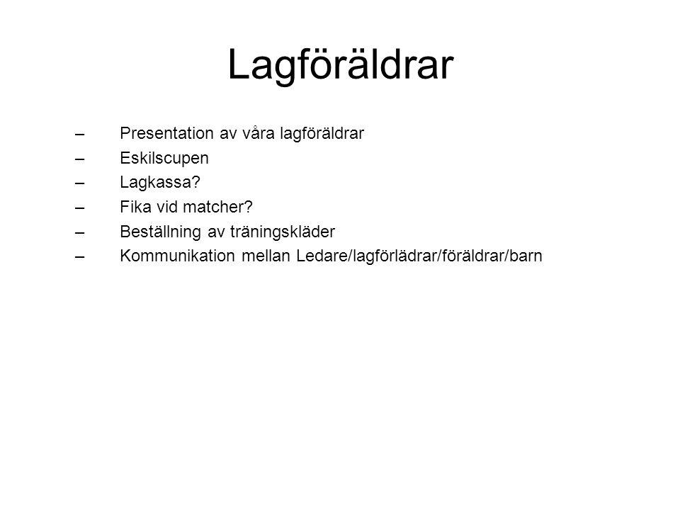 Lagföräldrar – Presentation av våra lagföräldrar – Eskilscupen – Lagkassa.