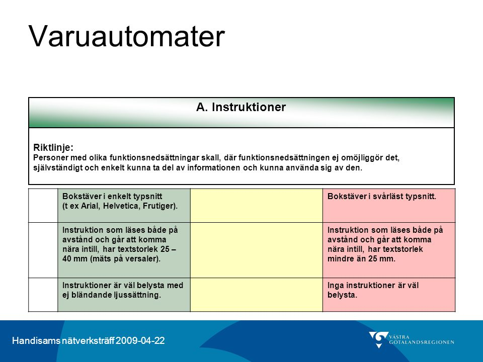 Handisams nätverksträff 2009-04-22 Varuautomater A. Instruktioner Riktlinje: Personer med olika funktionsnedsättningar skall, där funktionsnedsättning