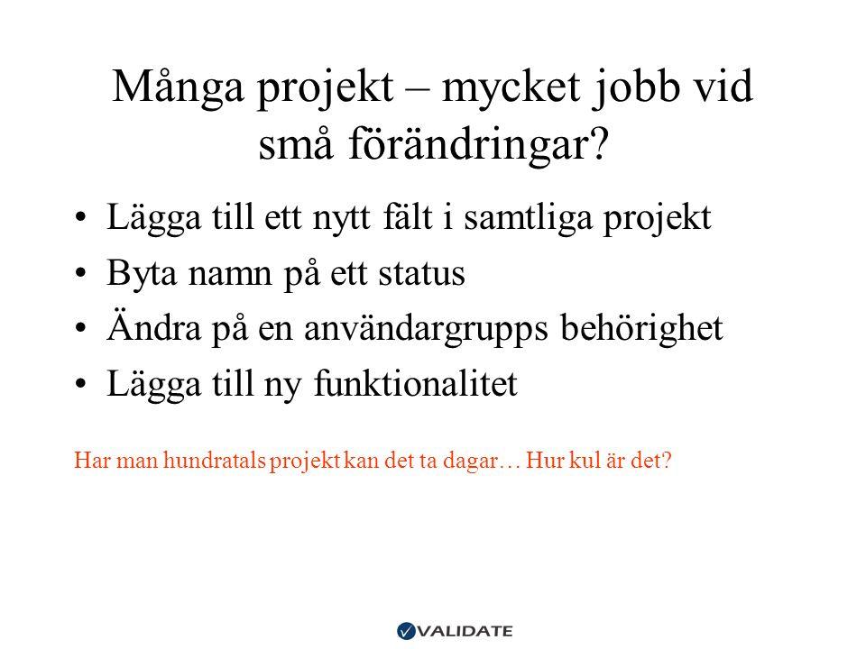 Många projekt – mycket jobb vid små förändringar? •Lägga till ett nytt fält i samtliga projekt •Byta namn på ett status •Ändra på en användargrupps be
