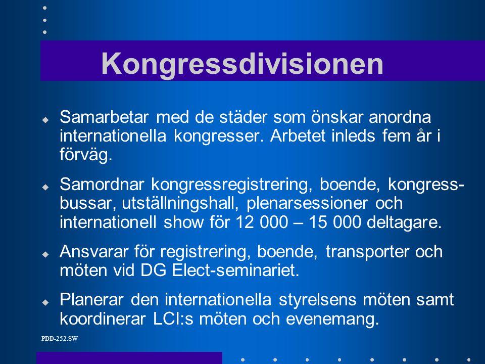 PDD-252.SW Kongressdivisionen u Samarbetar med de städer som önskar anordna internationella kongresser.