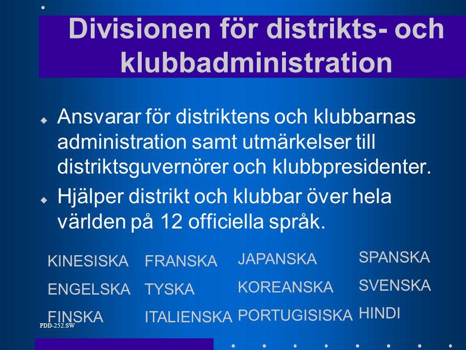 PDD-252.SW u Ansvarar för distriktens och klubbarnas administration samt utmärkelser till distriktsguvernörer och klubbpresidenter.