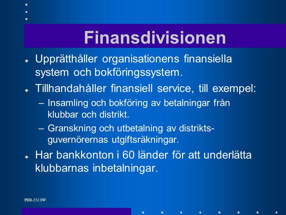 PDD-252.SW Finansdivisionen u Upprätthåller organisationens finansiella system och bokföringssystem.