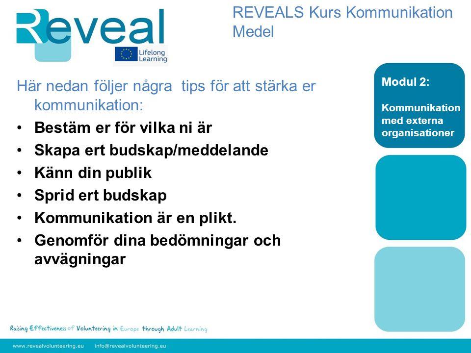 Nivå: Medel Ämne: Kommunikation Modul 2: Kommunikation med externa organisationer DU 2.2.