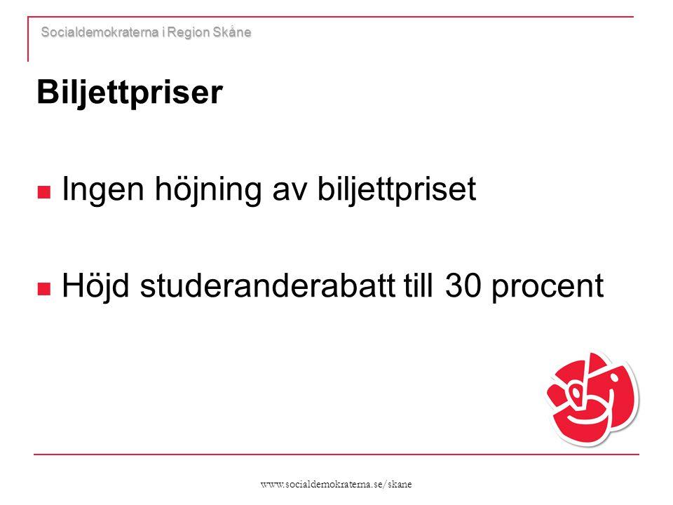www.socialdemokraterna.se/skane Socialdemokraterna i Region Skåne Biljettpriser  Ingen höjning av biljettpriset  Höjd studeranderabatt till 30 proce