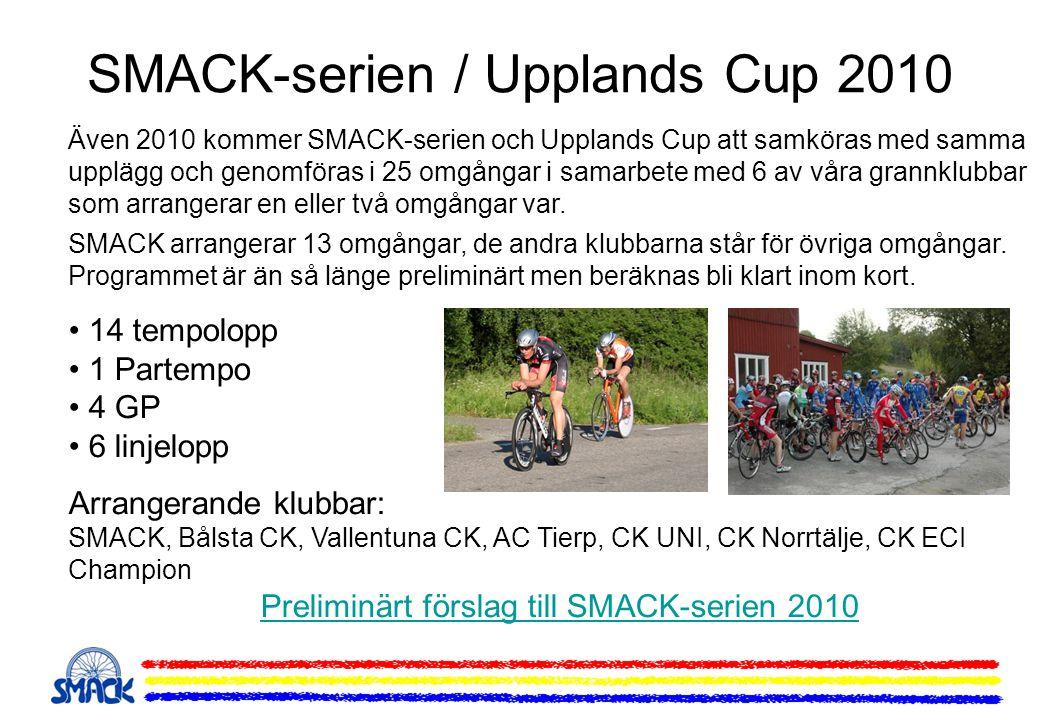 Även 2010 kommer SMACK-serien och Upplands Cup att samköras med samma upplägg och genomföras i 25 omgångar i samarbete med 6 av våra grannklubbar som