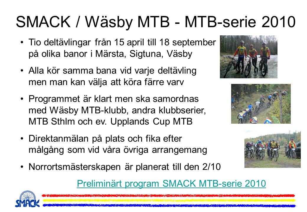 SMACK / Wäsby MTB - MTB-serie 2010 •Tio deltävlingar från 15 april till 18 september på olika banor i Märsta, Sigtuna, Väsby •Alla kör samma bana vid