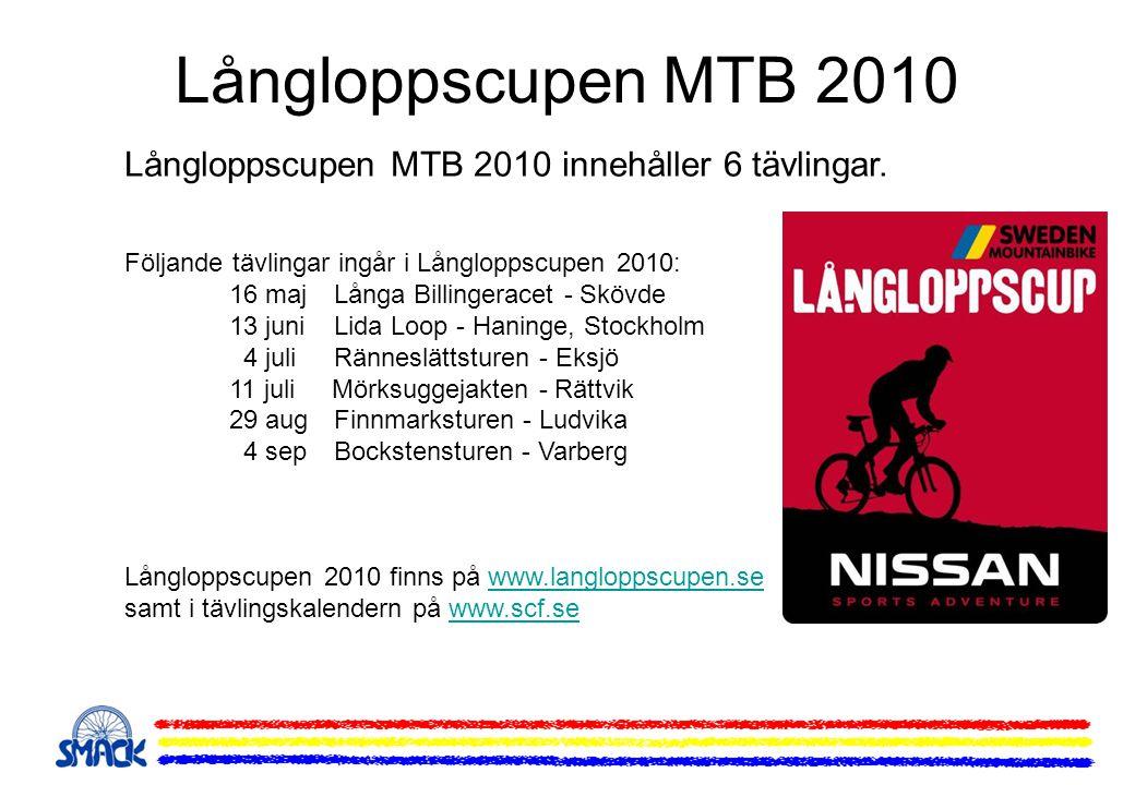 Långloppscupen MTB 2010 Långloppscupen MTB 2010 innehåller 6 tävlingar. Följande tävlingar ingår i Långloppscupen 2010: 16 maj Långa Billingeracet - S