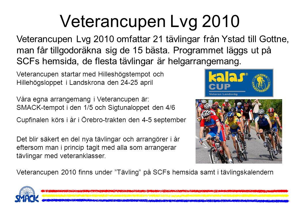 Veterancupen Lvg 2010 Veterancupen Lvg 2010 omfattar 21 tävlingar från Ystad till Gottne, man får tillgodoräkna sig de 15 bästa. Programmet läggs ut p