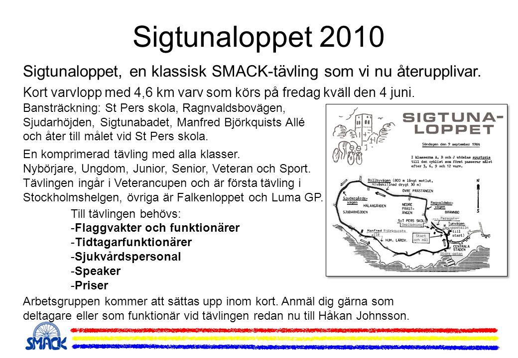 Sigtunaloppet 2010 Sigtunaloppet, en klassisk SMACK-tävling som vi nu återupplivar. Kort varvlopp med 4,6 km varv som körs på fredag kväll den 4 juni.