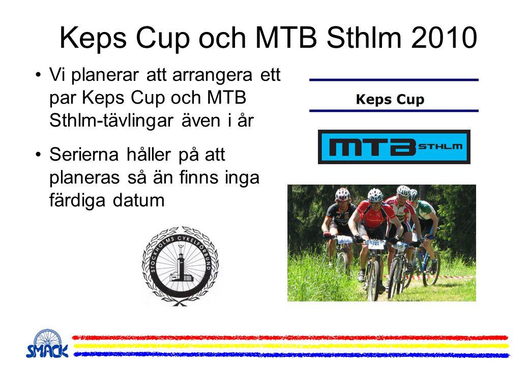 Keps Cup och MTB Sthlm 2010 •Vi planerar att arrangera ett par Keps Cup och MTB Sthlm-tävlingar även i år •Serierna håller på att planeras så än finns