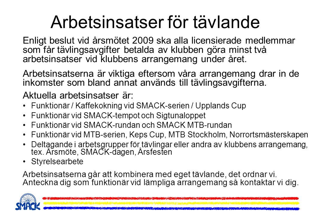 Arbetsinsatser för tävlande Enligt beslut vid årsmötet 2009 ska alla licensierade medlemmar som får tävlingsavgifter betalda av klubben göra minst två