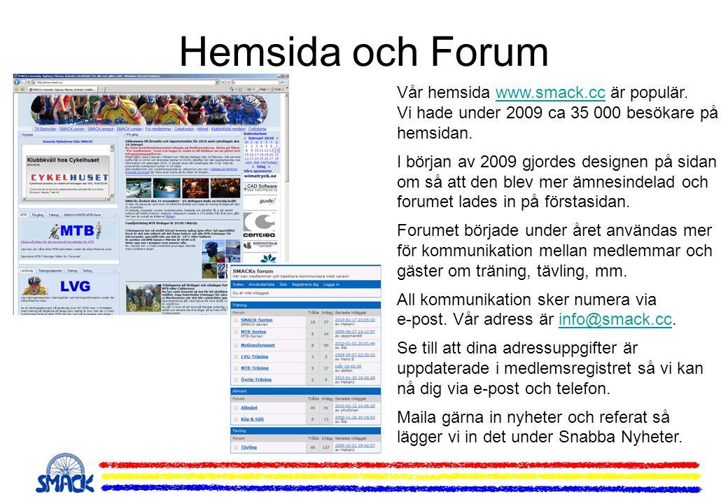 Hemsida och Forum Vår hemsida www.smack.cc är populär. Vi hade under 2009 ca 35 000 besökare på hemsidan.www.smack.cc I början av 2009 gjordes designe