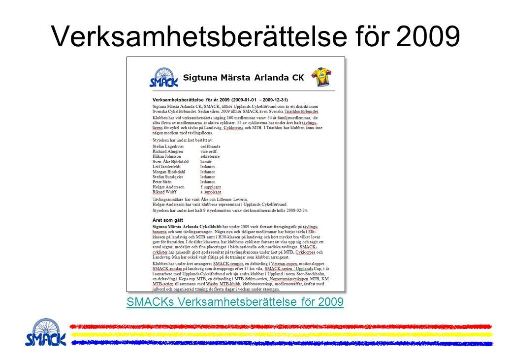 Upptaktsmöte för 2010 •Aktiviteter under 2010 •Triathlonverksamhet •Träningsdagar och upplägg •Egna klubbarrangemang •SMACK-serien / Upplands Cup •SMACK och Wäsby MTB-serie samt Norrortsmästerskapen •Träningsläger MTB och Lvg •Frågor till medlemmarna •Licenser och Försäkringar •Tävlingar och Motionslopp •Tävlingskalendern LVG och MTB 2010 •Motionskalendern 2010 •Egna arrangemang 2010 •SMACK-tempot och Sigtunaloppet •SMACK-rundan och SMACK MTB-rundan •Keps Cup och MTB Sthlm •Arbetsinsatser för tävlande •Hemsidan, Forum, e-post •För Medlemmar •Medlemssidor och uppgifter •Medlemskort och förmåner •Klubbmästare 2009 •Våra sponsorer •Mantra Sport ny sponsor •Klubbkläder •Provning och beställning av klubbkläder