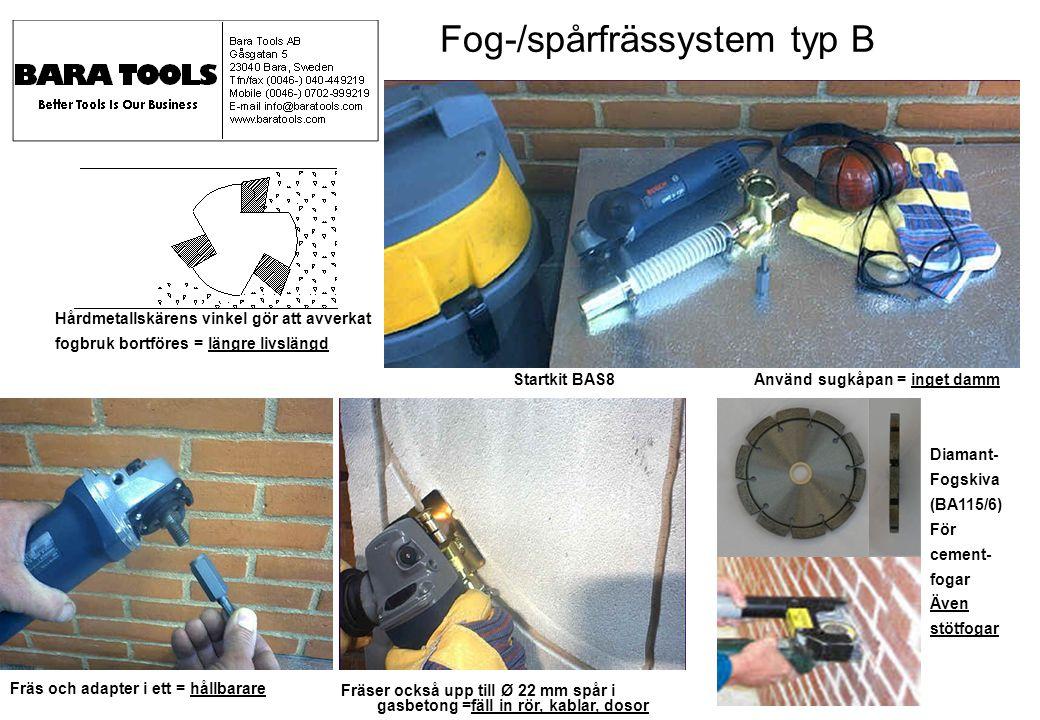 Startkit BAS8 Använd sugkåpan = inget damm Fog-/spårfrässystem typ B Hårdmetallskärens vinkel gör att avverkat fogbruk bortföres = längre livslängd Fr
