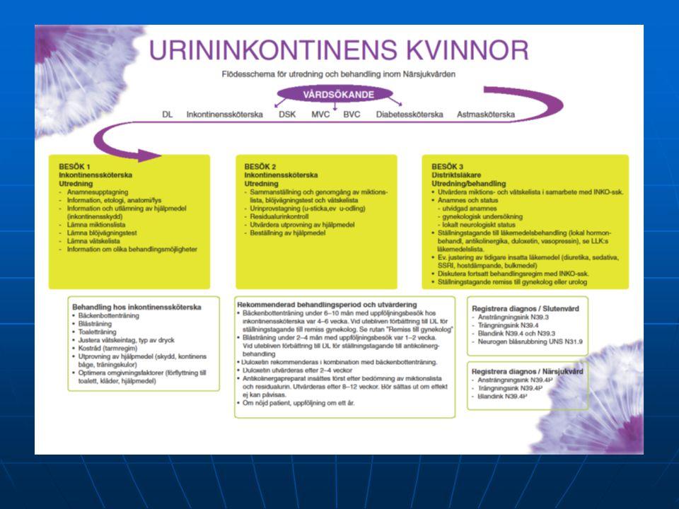 Diagnos  Ansträngningsinkontinens: N39.4 P  Trängningsinkontinens: N39.4 P  Blandinkontinens: N39.4 P