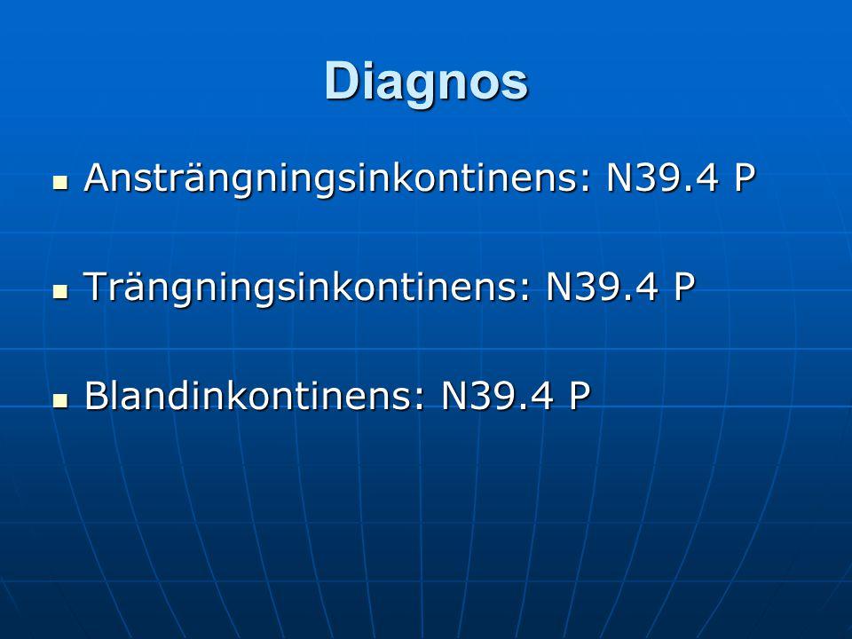 Åtgärdskoder:  DK018 Urininkontinensutredning och behandling Besök 1 och 2  AV072 Dygnsmätning av dryckes- och urinvolymer.