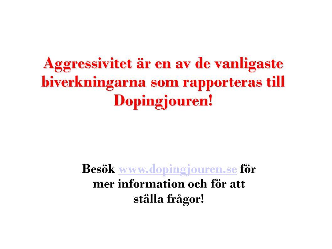 Aggressivitet är en av de vanligaste biverkningarna som rapporteras till Dopingjouren! Besök www.dopingjouren.se för mer information och för att ställ