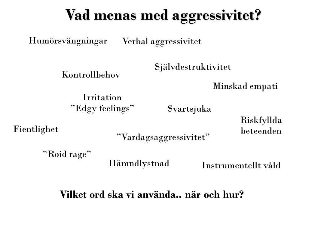 """Vad menas med aggressivitet? Humörsvängningar Irritation """"Edgy feelings"""" Riskfyllda beteenden Verbal aggressivitet Instrumentellt våld """"Roid rage"""" Sva"""