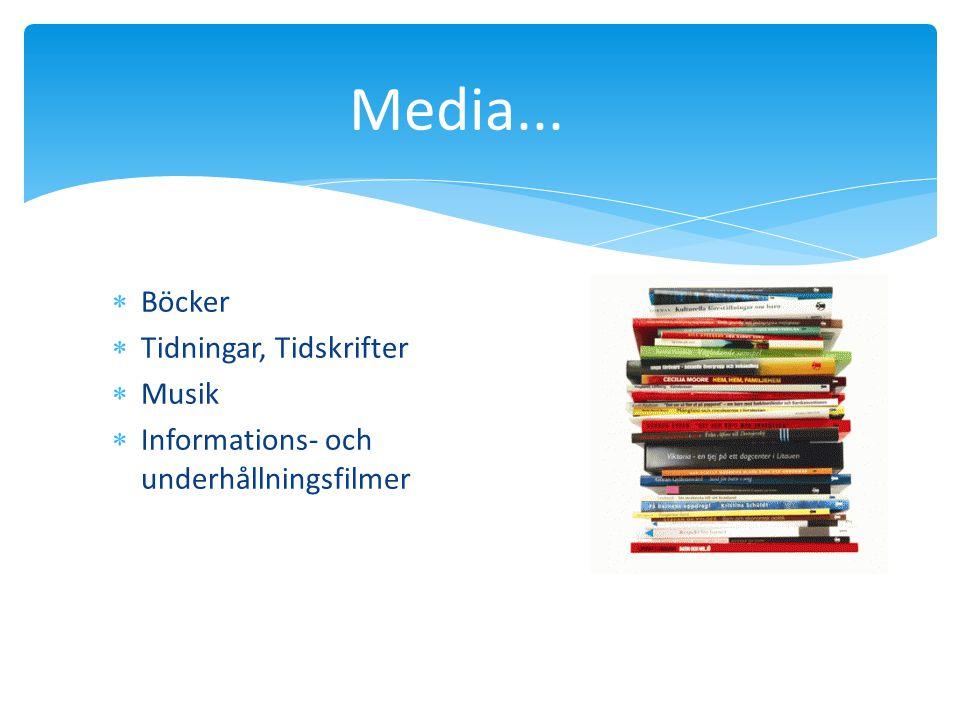 Media...  Böcker  Tidningar, Tidskrifter  Musik  Informations- och underhållningsfilmer