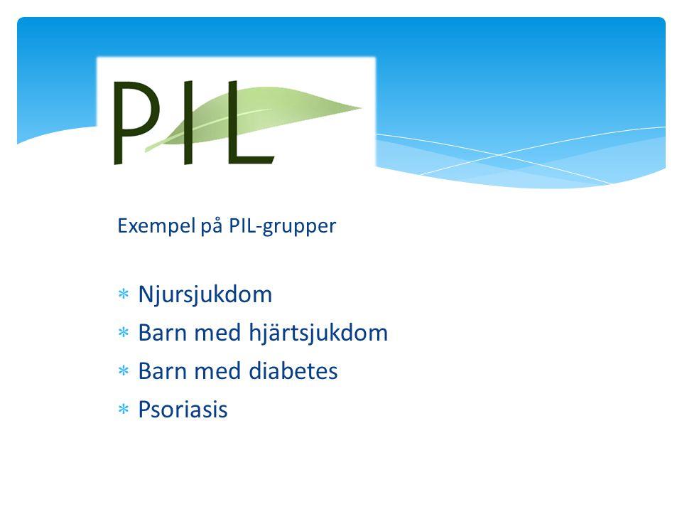 Exempel på PIL-grupper  Njursjukdom  Barn med hjärtsjukdom  Barn med diabetes  Psoriasis