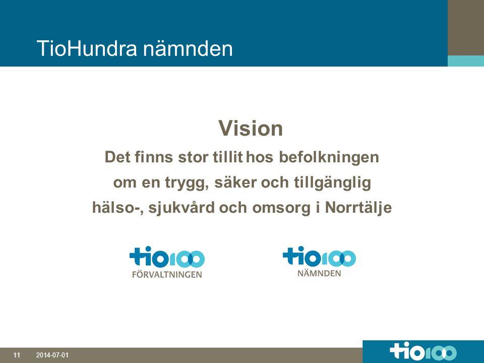 2014-07-0111 TioHundra nämnden Vision Det finns stor tillit hos befolkningen om en trygg, säker och tillgänglig hälso-, sjukvård och omsorg i Norrtälje
