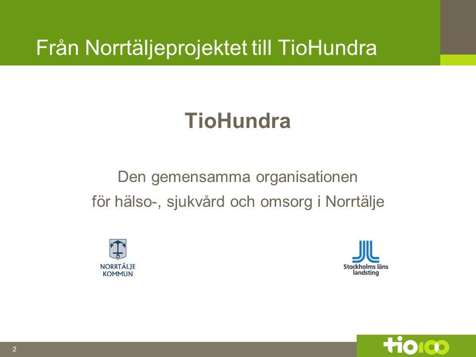 2 Från Norrtäljeprojektet till TioHundra TioHundra Den gemensamma organisationen för hälso-, sjukvård och omsorg i Norrtälje