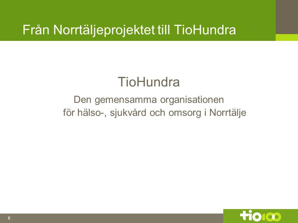 6 Från Norrtäljeprojektet till TioHundra TioHundra Den gemensamma organisationen för hälso-, sjukvård och omsorg i Norrtälje