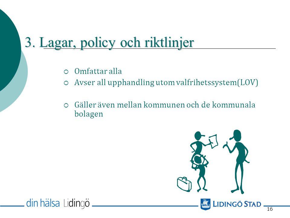 15  Lagen om offentlig upphandling (LOU)  Lagen om upphandling inom områdena vatten, energi, transporter och posttjänster, försörjningslagen (LUF) 