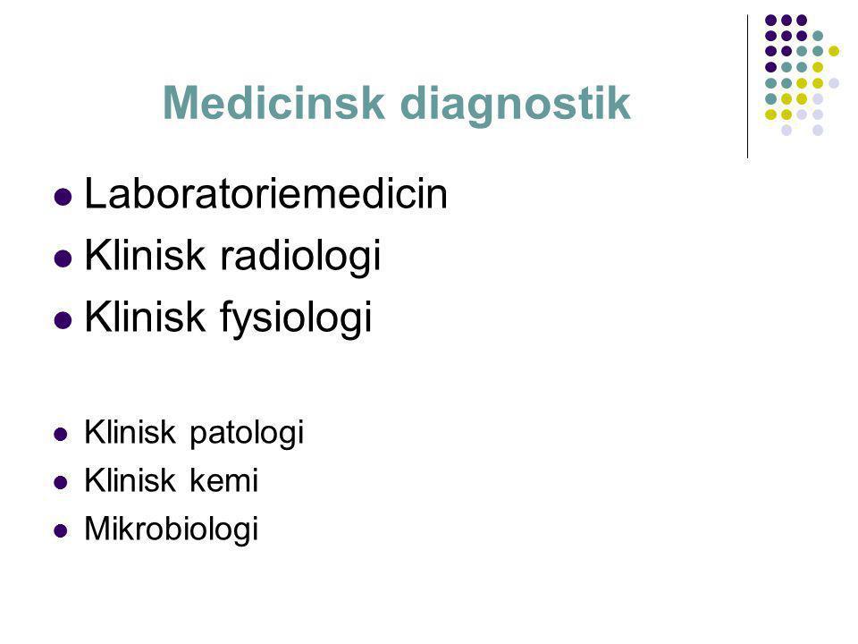 Medicinsk diagnostik  Laboratoriemedicin  Klinisk radiologi  Klinisk fysiologi  Klinisk patologi  Klinisk kemi  Mikrobiologi