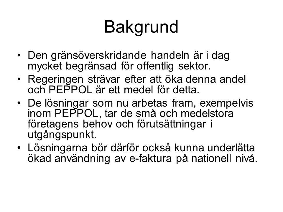 Regeringsuppdrag •Regeringsuppdrag till ESV att samordna det svenska deltagandet i PEPPOL (22 oktober 2009) •Samverka med Kammarkollegiet och Sveriges Kommuner & Landsting genom SFTI