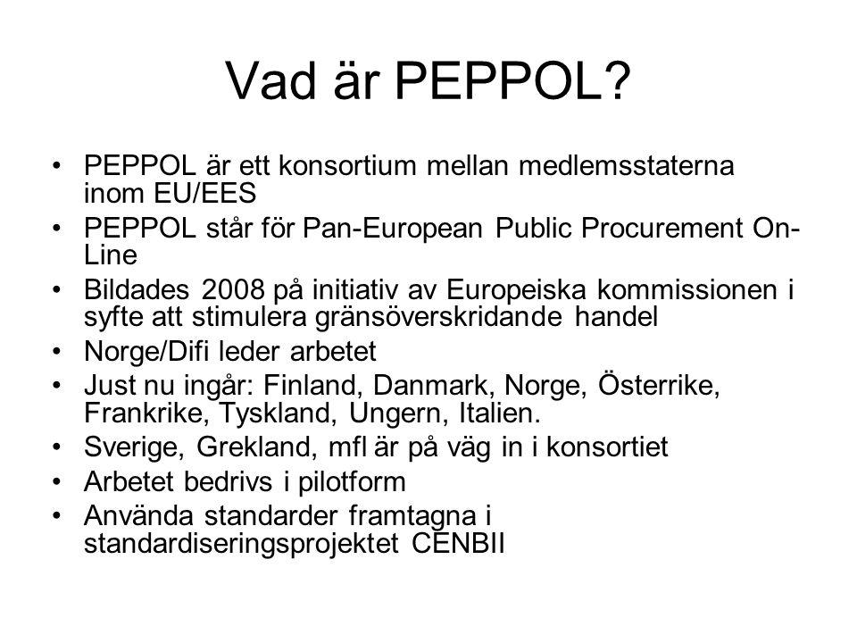 Vad är PEPPOL? •PEPPOL är ett konsortium mellan medlemsstaterna inom EU/EES •PEPPOL står för Pan-European Public Procurement On- Line •Bildades 2008 p