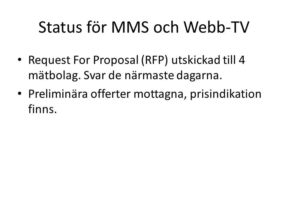 Status för MMS och Webb-TV • Request For Proposal (RFP) utskickad till 4 mätbolag.