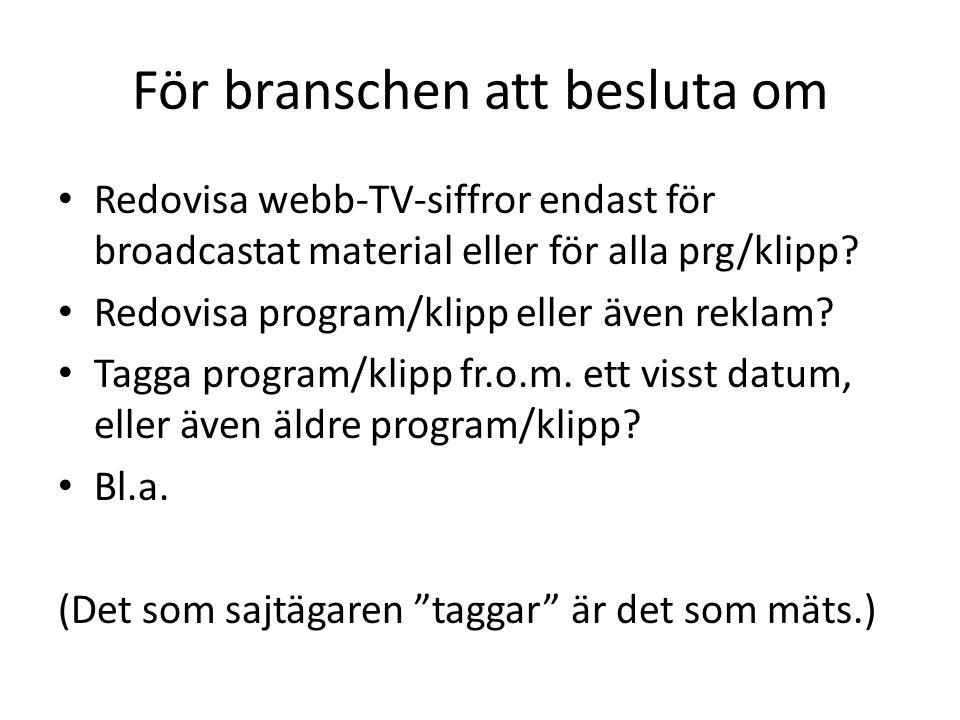 För branschen att besluta om • Redovisa webb-TV-siffror endast för broadcastat material eller för alla prg/klipp.