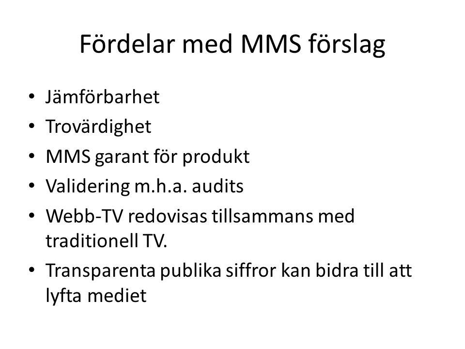 Fördelar med MMS förslag • Jämförbarhet • Trovärdighet • MMS garant för produkt • Validering m.h.a.
