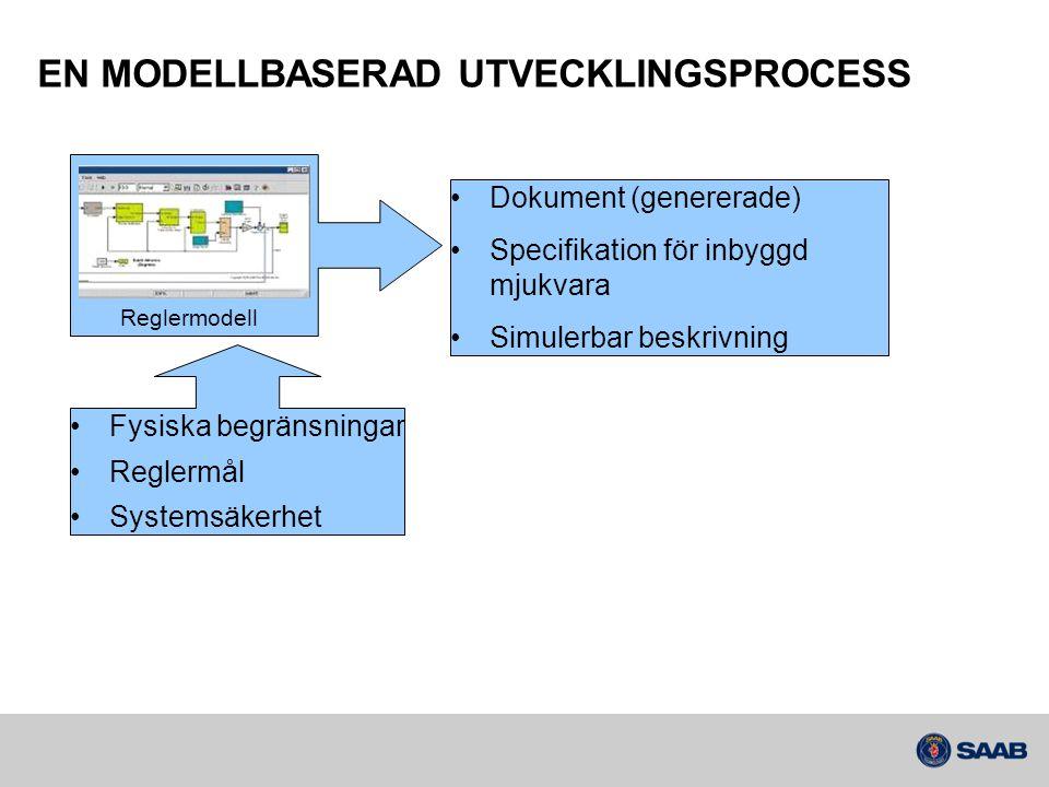 EN MODELLBASERAD UTVECKLINGSPROCESS Reglermodell •Fysiska begränsningar •Reglermål •Systemsäkerhet •Dokument (genererade) •Specifikation för inbyggd m