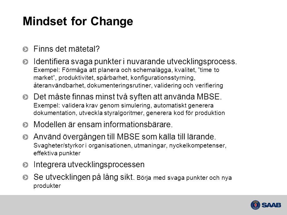 Mindset for Change Finns det mätetal? Identifiera svaga punkter i nuvarande utvecklingsprocess. Exempel: Förmåga att planera och schemalägga, kvalitet