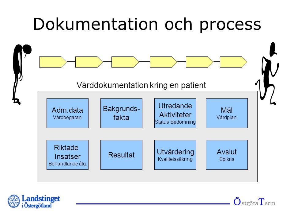 Dokumentation och process Adm.data Vårdbegäran Bakgrunds- fakta Resultat Riktade Insatser Behandlande åtg. Utvärdering Kvalitetssäkring Utredande Akti