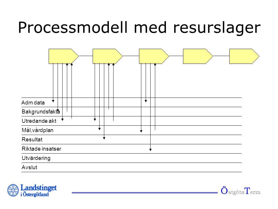 Ö stgöta T erm Adm data Bakgrundsfakta Utredande akt Mål,vårdplan Resultat Riktade insatser Utvärdering Avslut Processmodell med resurslager