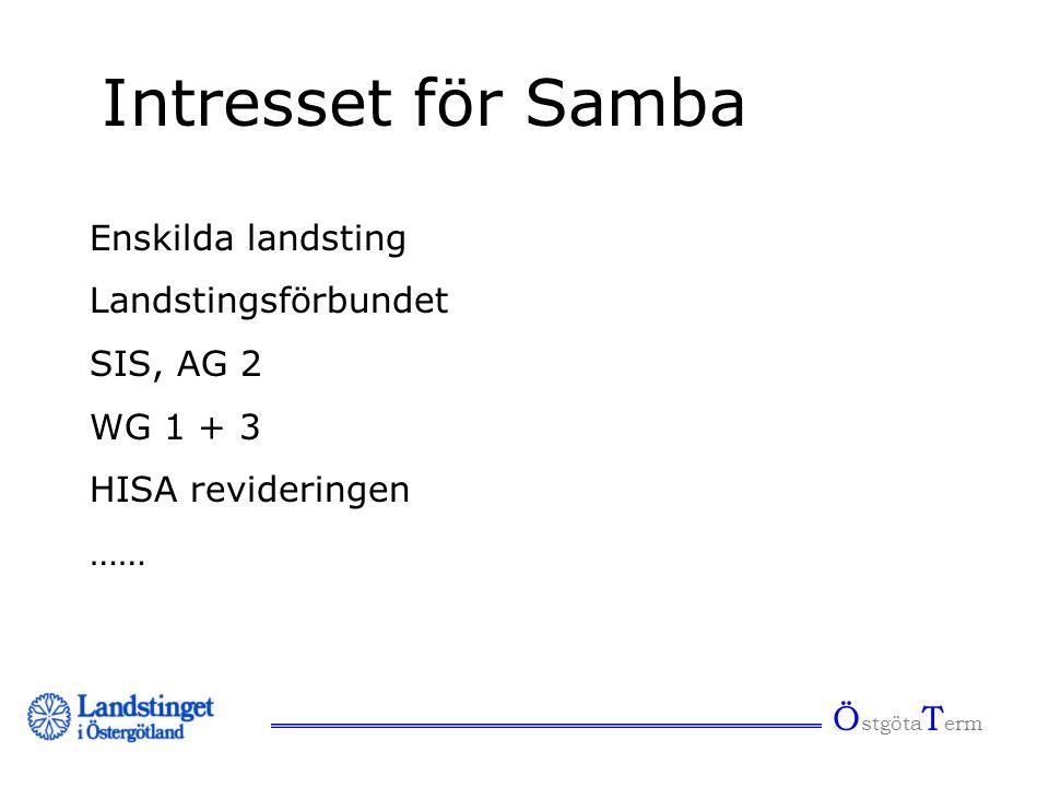 Ö stgöta T erm Intresset för Samba Enskilda landsting Landstingsförbundet SIS, AG 2 WG 1 + 3 HISA revideringen ……