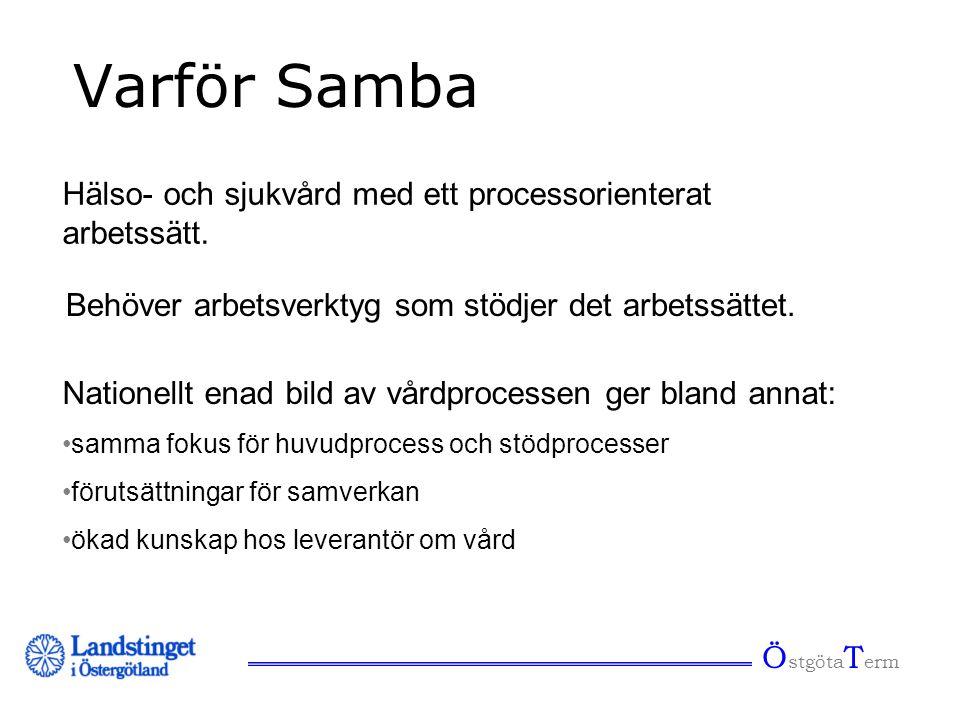Ö stgöta T erm Varför Samba Hälso- och sjukvård med ett processorienterat arbetssätt. Nationellt enad bild av vårdprocessen ger bland annat: •samma fo