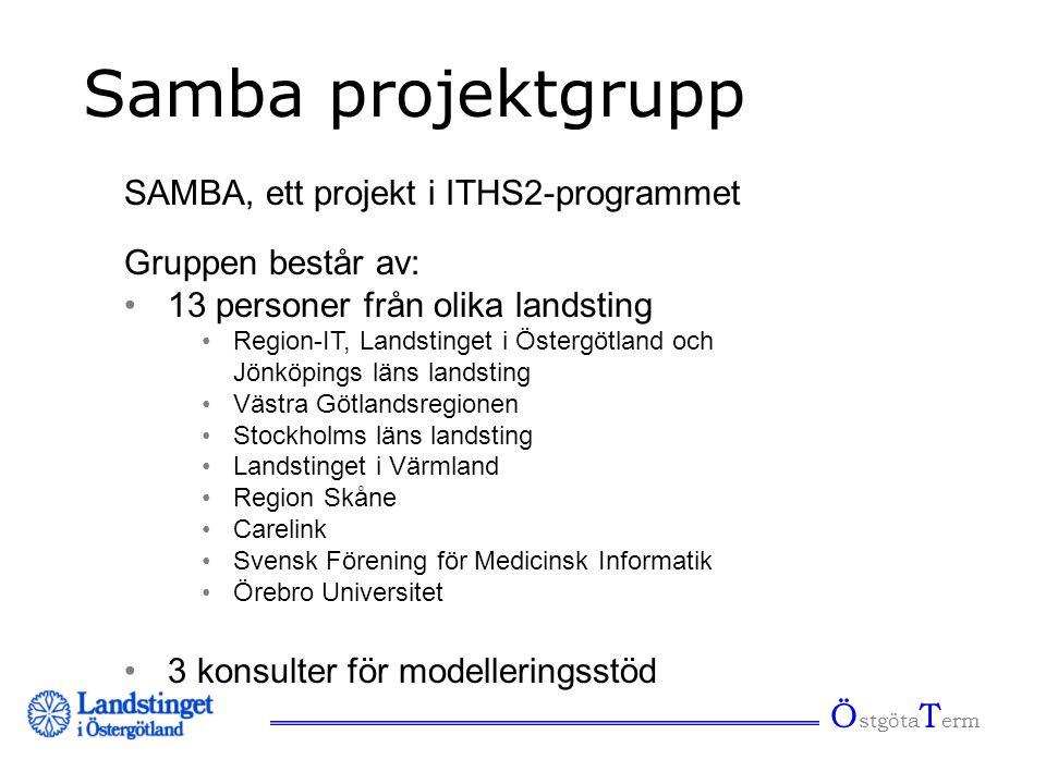 Ö stgöta T erm Samba projektgrupp Gruppen består av: •13 personer från olika landsting •Region-IT, Landstinget i Östergötland och Jönköpings läns land
