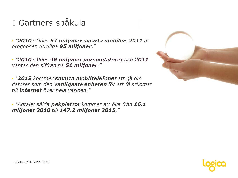 • 2010 såldes 67 miljoner smarta mobiler, 2011 är prognosen otroliga 95 miljoner. • 2010 såldes 46 miljoner persondatorer och 2011 väntas den siffran nå 51 miljoner. • 2013 kommer smarta mobiltelefoner att gå om datorer som den vanligaste enheten för att få åtkomst till internet över hela världen. • Antalet sålda pekplattor kommer att öka från 16,1 miljoner 2010 till 147,2 miljoner 2015. I Gartners spåkula * Gartner 2011 2011-02-13