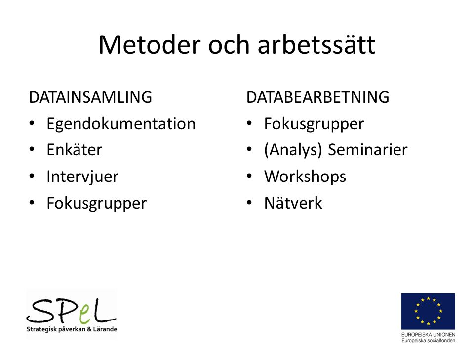 Metoder och arbetssätt DATAINSAMLING • Egendokumentation • Enkäter • Intervjuer • Fokusgrupper DATABEARBETNING • Fokusgrupper • (Analys) Seminarier • Workshops • Nätverk