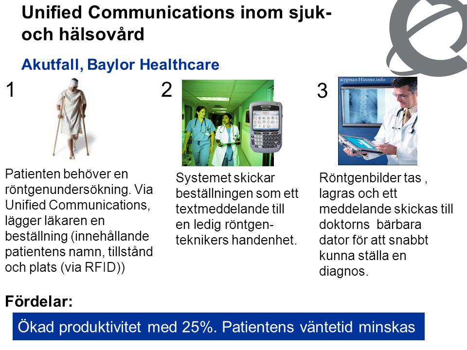 15 Unified Communications inom sjuk- och hälsovård Akutfall, Baylor Healthcare Fördelar: Ökad produktivitet med 25%. Patientens väntetid minskas 3 Rön