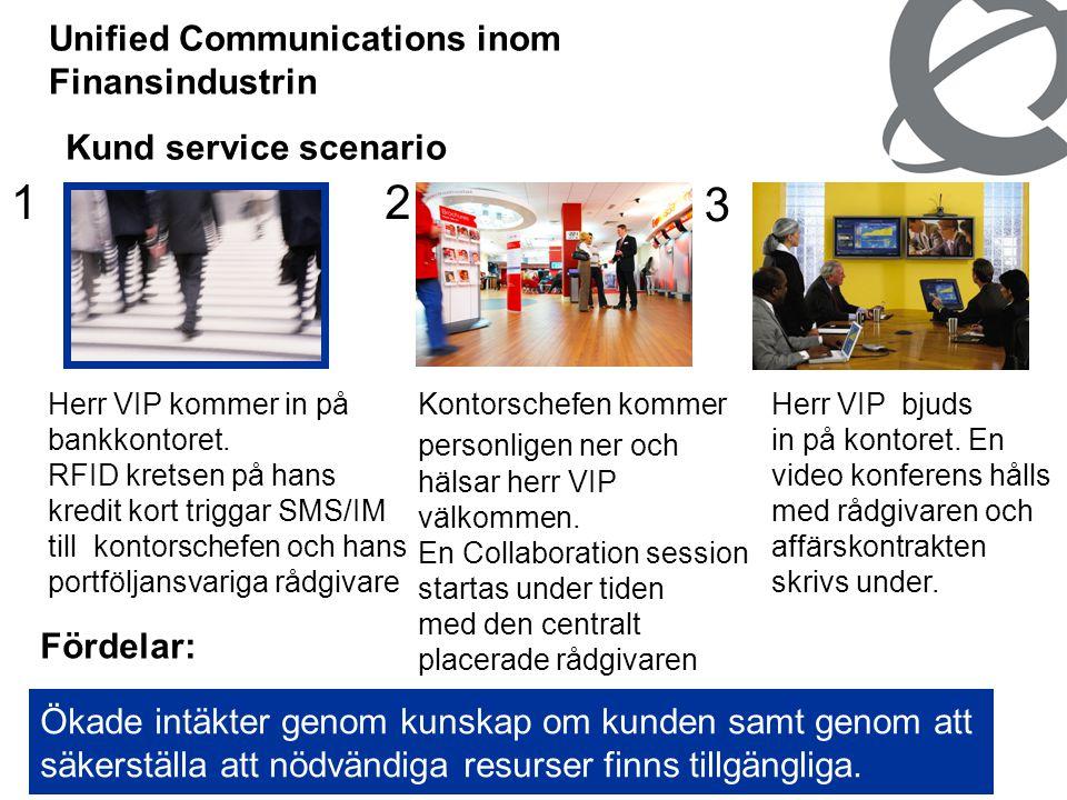 16 Unified Communications inom Finansindustrin Kund service scenario 2 Kontorschefen kommer personligen ner och hälsar herr VIP välkommen. En Collabor