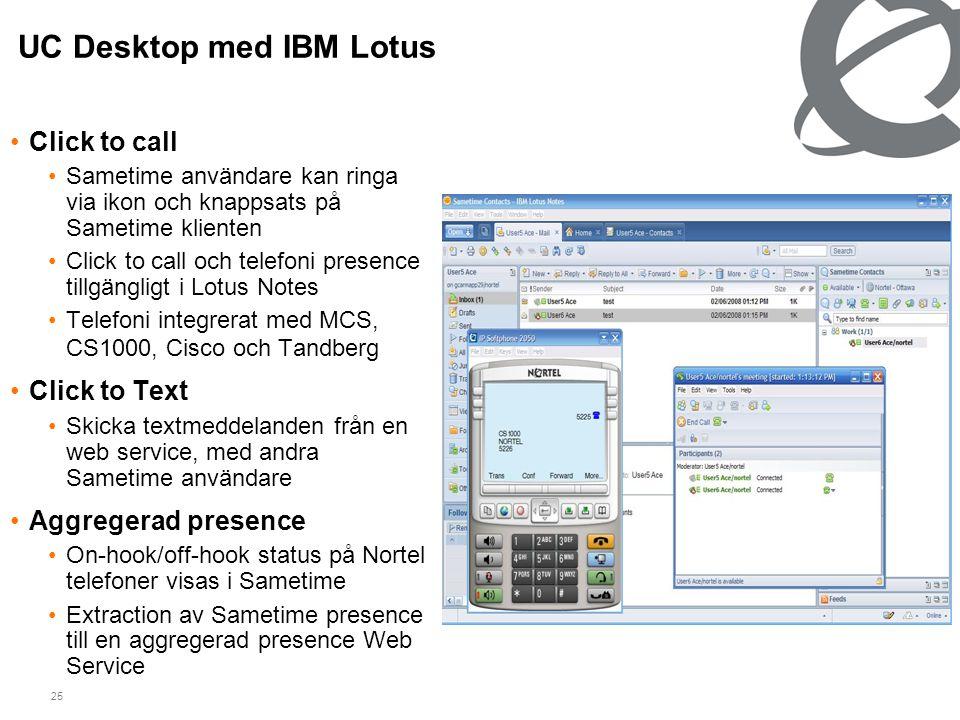 25 UC Desktop med IBM Lotus •Click to call •Sametime användare kan ringa via ikon och knappsats på Sametime klienten •Click to call och telefoni prese