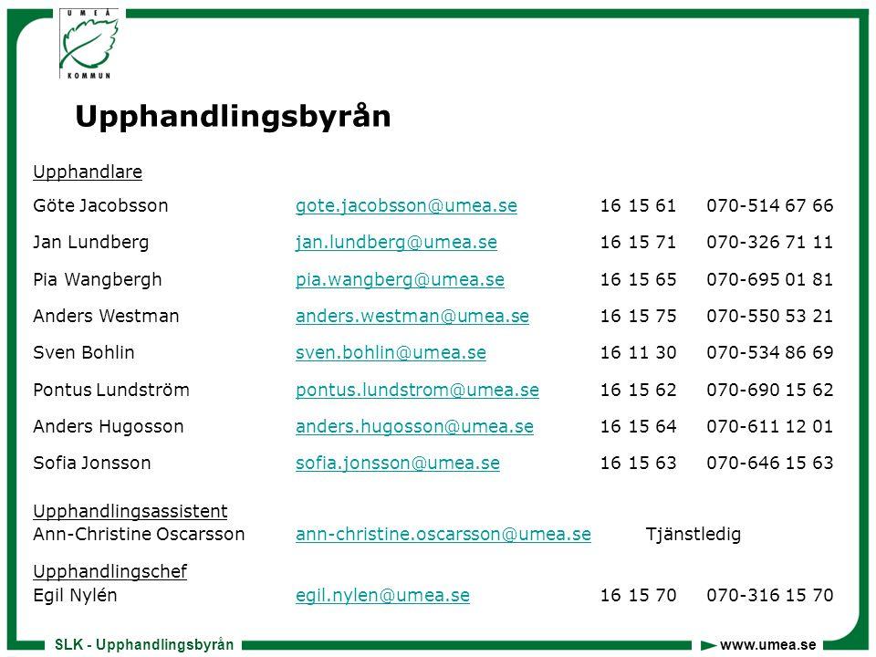 SLK - Upphandlingsbyrån www.umea.se Upphandling allt viktigare…  Leverantörer  Uppdragsgivare  Beställare  Samverkanspartners  Massmedia  Politiker  Domstol  Allmänhet