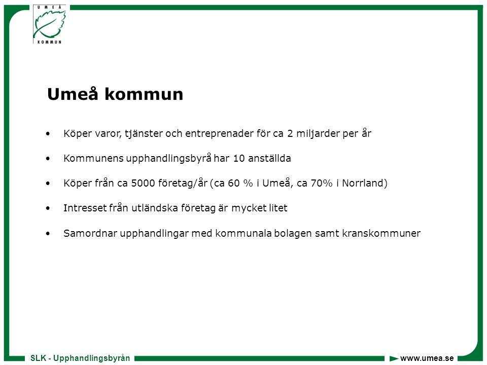 SLK - Upphandlingsbyrån www.umea.se Umeå kommun •Köper varor, tjänster och entreprenader för ca 2 miljarder per år •Kommunens upphandlingsbyrå har 10 anställda •Köper från ca 5000 företag/år (ca 60 % i Umeå, ca 70% i Norrland) •Intresset från utländska företag är mycket litet •Samordnar upphandlingar med kommunala bolagen samt kranskommuner