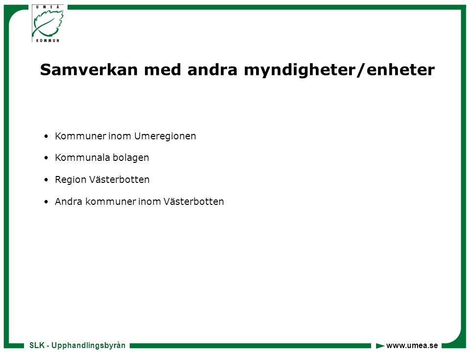 SLK - Upphandlingsbyrån www.umea.se Samverkan med andra myndigheter/enheter • Kommuner inom Umeregionen • Kommunala bolagen • Region Västerbotten • Andra kommuner inom Västerbotten